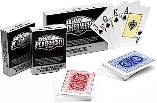 Poker Night Pro 2 Decks of Professional Waterproof 100% Plastic TEXAS HOLDEM Poker Playing Cards (1 x Red / 1 x Blue)   54...