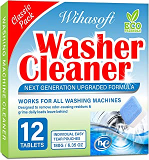 Wihasoft Upgraded Washing Machine Cleaner, Solid Washer Cleaner Effervescent Tablet, Deep Cleaning Remover with Triple Decontamination for Laundry, Natural Biological Formula, Safe for Septic, 12 PCs