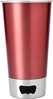 Beer Pint Stainless Steel Beer Mug with Beer Opener Base by Asobu, Red