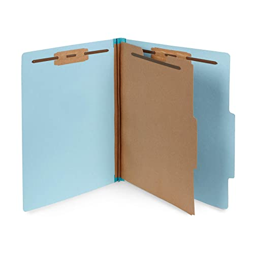 10 Blue Classification Folders - 1 Divider - 2 Inch Tyvek Expansions - Durable 2 Prongs Designed to Organize Standard Medical Files, Law Client Files, Office Reports - Letter Size, Blue, 10 Pack