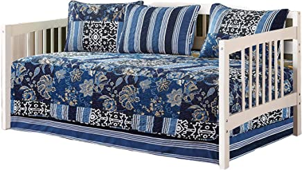 Mk Collection 5pc Day Bed Reversible Quilted Cover Set Floral Navy Blue White Green Blue Beige New