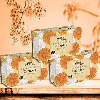 Mirah Belle - Organic Coconut Milk, Calendula Healing Soap Bar (Pack of 3-125 g) - Best for Sensitive, Infection and Acne ...