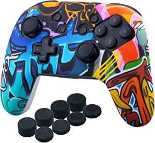 YoRHa Studded Silicone Transfer Print Cover Skin Case ONLY for Nitendo OFFICIAL Switch Pro Controller x 1(Comic Graffiti) With Pro Thumb Grips x 8
