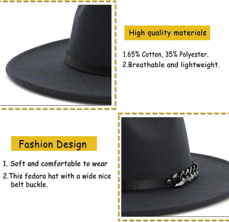Men /& Women Belt Buckle Fedora Hat Wide Brim Floppy Panama Hat
