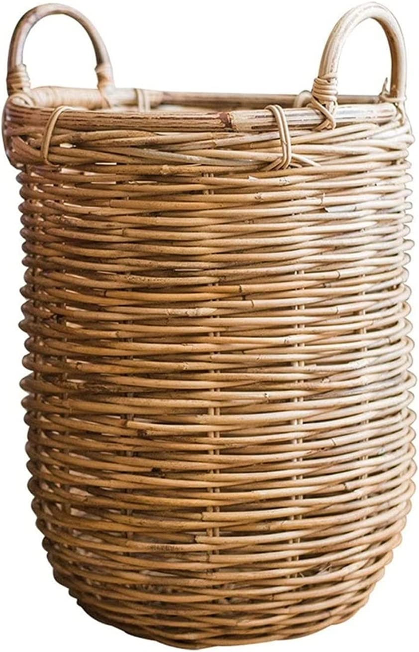 DSWHM Hand-Made All items free shipping Straw Storage Flowe Max 43% OFF Basket Floor-Standing Rattan