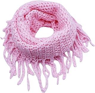 Kids Winter Infinity Scarf Warm Tassel Circle Loop Solid Color Knit Scarves Shawl Women Girls Neck Warmer