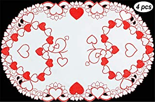 Creative Linens Embroidered Red Hearts Placemats, Table Runners, Tablecloths for Valentine's Day, Mother's Day, Wedding, Anniversary Decoration (Placemats, 11x17-4 Pieces)