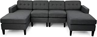 Grace Contemporary Fabric Chaise Sectional with Button Accents, Charcoal