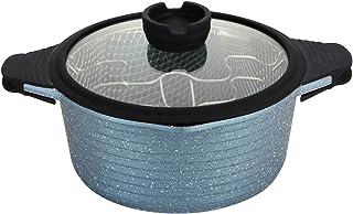 Roseto Freidora de 24 cm, revestimiento antiadherente, base de aluminio, todas las placas de inducción. gris perla
