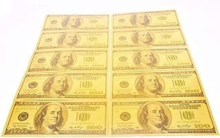 POPOUGE 12 PCS $100 USD banknotes, 24K Gold foil Polymer Paper Money 1:1 Size 3D Gold Foil Banknote Crafts (A)