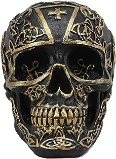 Ebros Celtic Trinity Knotwork Tattoo Crusader Templar Knights Cross Black and Gold Skull Statue 6