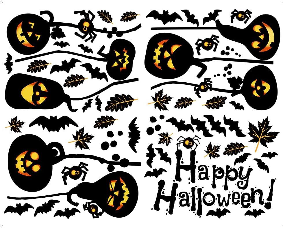 Oakland famous Mall Halloween Wall Sticker 4pcs Happy Witch Light Pumpkin