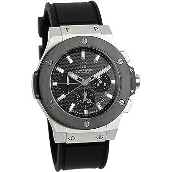 [HYAKUICHI 101] 腕時計 ウォッチ 100m防水 クロノグラフ 日付表示 ラバーベルト ブラック×シルバー カーボン メンズ