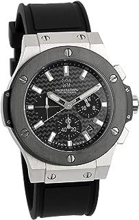 [HYAKUICHI 101] 腕時計 ウォッチ 100m防水 クロノグラフ 日付表示 ラバーベルト ブラック×シルバー メンズ