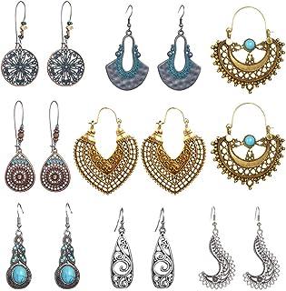 SUNNYOUTH Vintage Statement Drop Dangle Earrings Bohemian National Style Hollow Water Drop Heart Shaped Alloy Long Boho Dangle Earrings for Women Girls