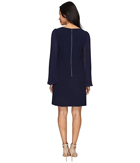 Shirt Overlay Camuto Vince w Pleated amp; Dress Chiffon Sleeves Crepe 4x6Hvq