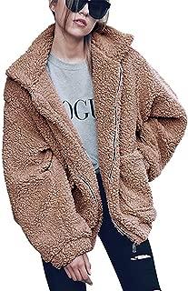 TSWRK Women's Lapel Faux Fur Shearling Shaggy Oversized Coat Long Sleeve Jacket with Pockets Warm Winter(S-XXXL)