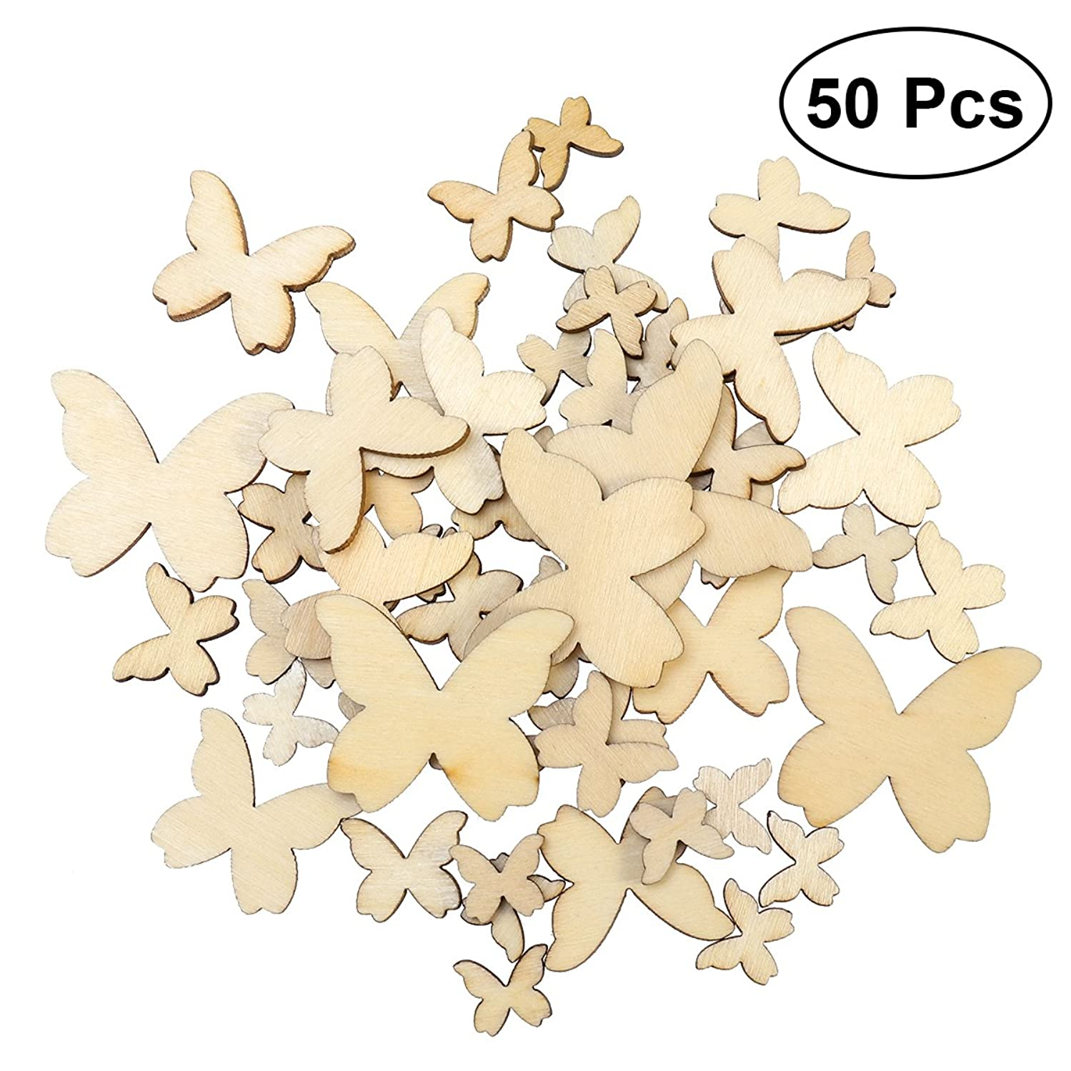 Tinksky Wooden Butterfly Cutouts Craft Embellishment Gift Tag Wood for DIY,Pack of 50 (Mixed Size)