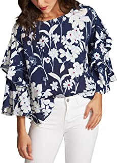 Womens Ruffled Tiered Sleeves Crop Top