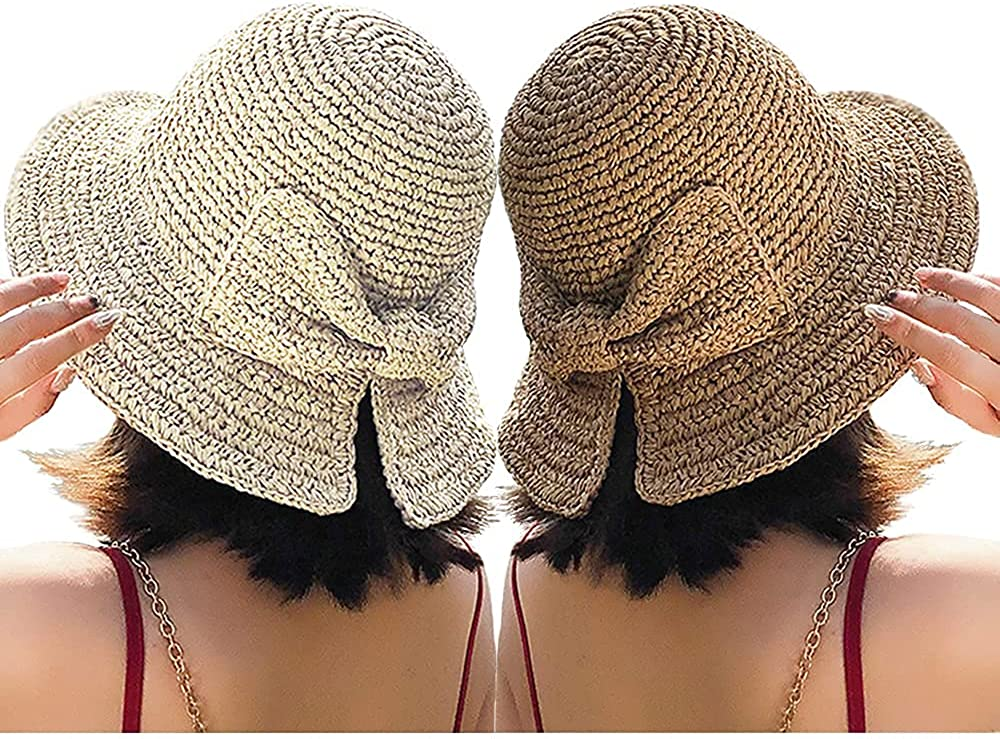 Foldable Wide Brim Floppy Straw Beach Sun Hat,Summer Cap with Bowknot for Women Girls,Strap Adjustable