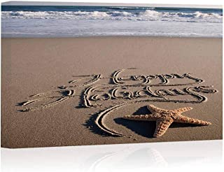 Happy Holidays Message Handwritten on Beach with Crashing Waves Canvas Prints Wall Art,051982 Painting Wall Art Picture Print on Canvas,16