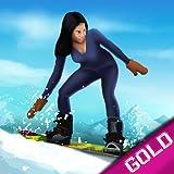 スノーボード冬のダウンヒルマウンテンスポーツ:冷たい雪のレース - ゴールドエディション