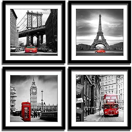 Black Framed Scenic Picture Wall Art Prints Colourful Europe Landmarks