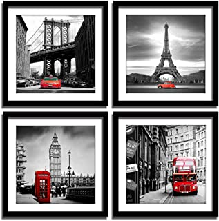 ENGLANT 4 Pieces Framed Canvas Wall Art, Black White and Red Wall Decor Landscape Poster with Eiffel Tower, Brooklyn Bridg...