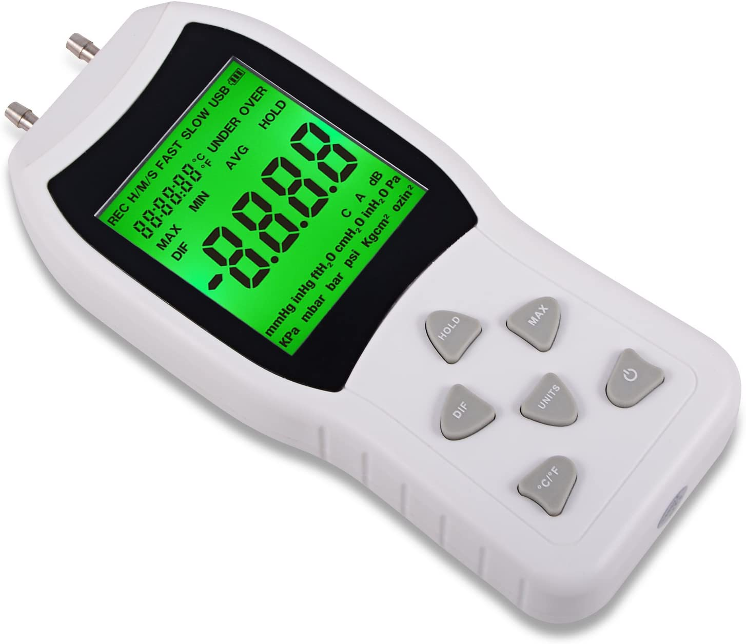 Ehdis Manómetro de portátil Digital Profesional de Doble Puerto presión 11 Unidades de Medida +/- 13.78kPa +/- 2 PSI, para Aspiradora De Aire/Gas, Medidor De Presión