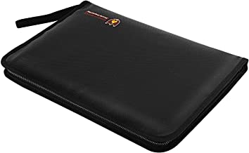 """MoKo Fireproof Waterproof Document Organizer Bag, A4 Size 12 Colored Pockets Expanding Safe File Folder, Zipper Closure Non-Itchy Silicone Coated Portable Filing Pouch (14.3"""" x 9.8"""") - Black"""