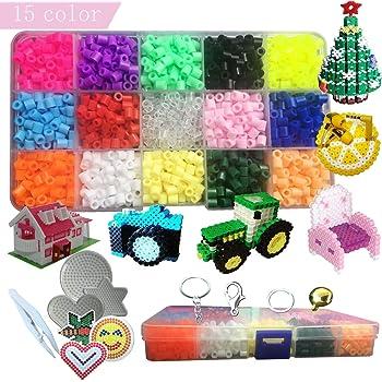 Lote de 1800 pcs Abalorios Perler,de los Granos DIY de Perler Caja de fusibles Conjunto de Perlas de 5 mm Hama Beads, 15 Color: Amazon.es: Hogar