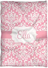 Three Ps In A Pod Pink Bubblegum Damask Blanket Personalized Ella