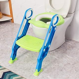 VETOMILE Asiento de Orinal Ajustable para Bebés/Niños, Aseo Escalera de Inodoros para Entrenamiento de Baño para Niños con Cojín de Esponja, Silla de Formación de WC para Bebés, Color Azul y Verde