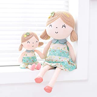 Gloveleya Baby Doll Girl Gifts Wearing Spring Dress Plush Cloth Dolls Toy Green 17 Inches Gift Boxes One Big & One Small Toys