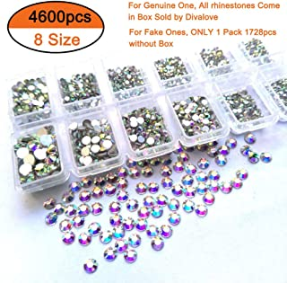 Queenme 4600pcs Nail Crystals Flatback Nail Art Rhinestones AB Diamonds Round Beads Mix 1.3mm-6mm Glass Charms Gems Stones for Nails Decorations Crafts Makeup Clothes Shoes