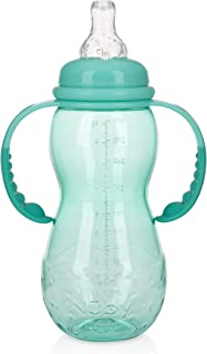 Nuby New 3 Stage Ultra Durable Tritan Grow with Me No-Spill Bottle to Cup, 10 Oz, Teal, 80387