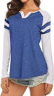 Womens Casual Baseball T-Shirt Raglan Loose Blouse Striped Tunics V NeckTee Tops with Long Sleeve