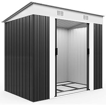 Deuba Cobertizo de metal de 3, 35m³ Antracita con aeración en la cumbrera y base almacenaje exterior de jardín almacén: Amazon.es: Jardín