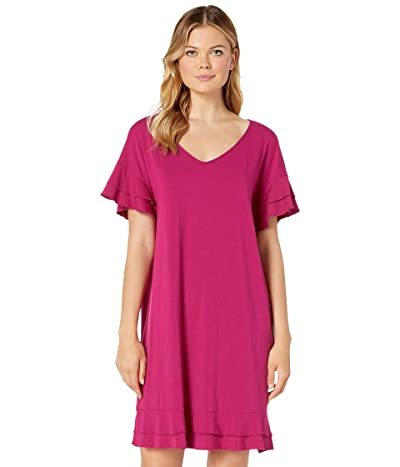 Mod-o-doc Cotton Modal Tiered Flounce Sleeve Shift Dress (Cherry Berry) Women