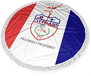 Z43USFEI Christmas Tree Skirt,Flag of Cleveland Large Xmas Tree Skirts with Fringed Lace