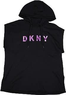 DKNY Sport Logo Print Pullover Sleeveless Hooded Sweatshirt