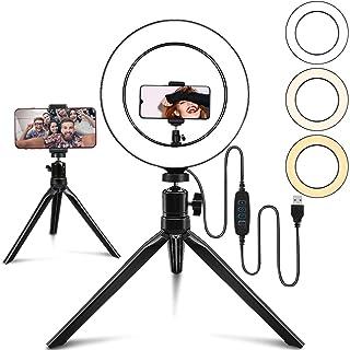 10インチ自撮りリングライト、3色モード10輝度、携帯スタンド付き、ミニ三脚、Vlog、youtube用照明、生放送、自撮りなどの動画撮影に対応 スマホ生放送用照明、顔美化・肌美化ライト、生放送人気ライト、撮影用多機能照明、撮影ライト、動画撮影...