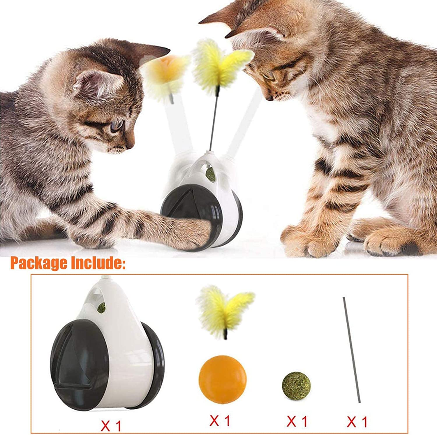 Kitty Moving Swing Toy for Indoor Cats No Battery Pets VividPaw Interactive Cat Feather Toys with Catnip Ball,Tumbler Kitten Wand Chaser Exercise Wheel Car
