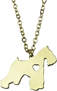Art Attack Goldtone I Love My Dog Lover Heart Outline Schnauzer Pet Puppy Rescue Pendant Necklace