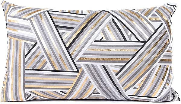 DORIC Gold Foil Printing Pillow Case Sofa Waist Throw Cushion Cover Home Decor
