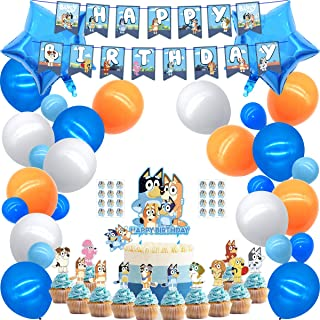 56 Pcs Blue Clues Party Supplies, 2 Cake Toppers, 24 Cupcake Toppers, 1 Happy Birthday Banner, 25 Balloons Decorations, 2 Star Foil Balloons, 2 Stickers for Girls & Boys