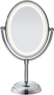 Conair Double-Sided Lighted Makeup Mirror - Lighted Vanity Makeup Mirror with LED Lights; 1x/7x magnification; Polished Ch...
