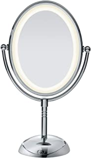 Conair Reflections LED Lighted Collection Double-Sided Makeup Mirror, 1x/7x magnification, Polished Chrome
