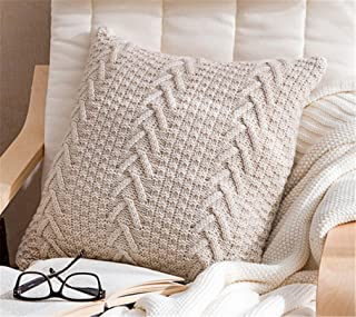 """Decorative Cotton Knitted Pillow Case Cushion Cover Double-Cable Warm Throw Pillow Covers for Bed Couch 18"""" X 18"""" (Cover O..."""