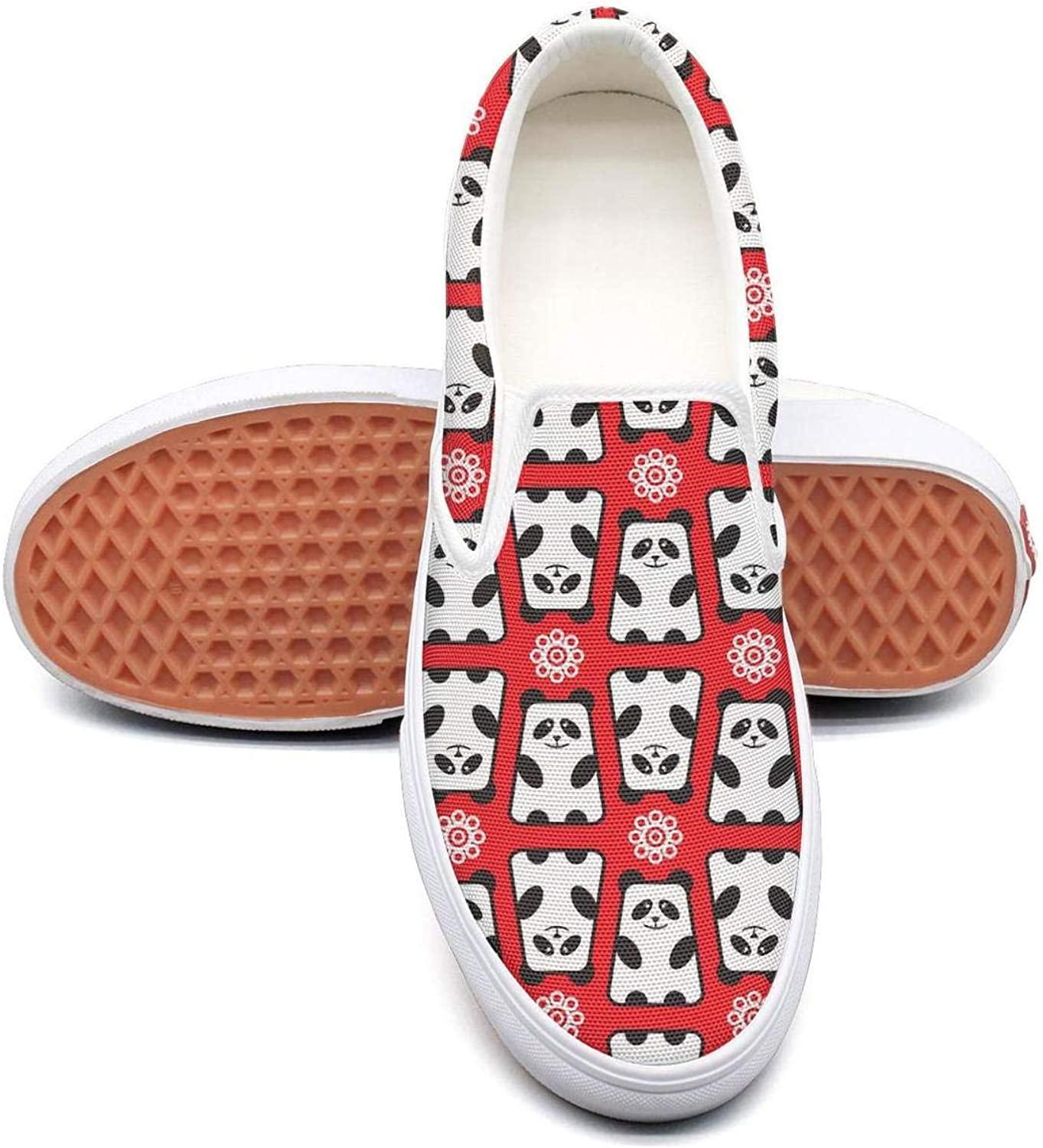 Vosda Red Panda Bear and Flowers Classic Women Canvas Slip-On shoes Sneaker
